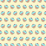 Cupcake - emoji pattern 43. Pattern of a emoji cupcake that can be used as a background, texture, prints or something else royalty free illustration
