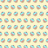 Cupcake - emoji pattern 44. Pattern of a emoji cupcake that can be used as a background, texture, prints or something else stock illustration
