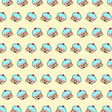 Cupcake - emoji pattern 65. Pattern of a emoji cupcake that can be used as a background, texture, prints or something else stock illustration