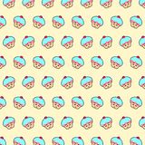 Cupcake - emoji pattern 19. Pattern of a emoji cupcake that can be used as a background, texture, prints or something else stock illustration
