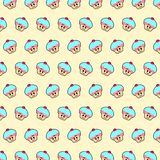 Cupcake - emoji pattern 23. Pattern of a emoji cupcake that can be used as a background, texture, prints or something else stock illustration