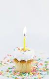 Cupcake en Enige Kaars Royalty-vrije Stock Afbeeldingen