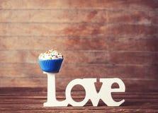Cupcake en woordliefde Royalty-vrije Stock Foto's