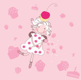 Cupcake fairy. Vector illustration of little cupcake fairy royalty free illustration