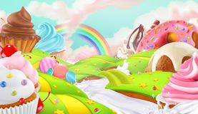 Cupcake, fairy cake. Sweet landscape, vector background Stock Photos