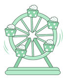 Cupcake Ferris wheel vector. Cupcake Ferris wheel illustration of isolated on white background Stock Images
