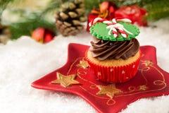 Cupcake with festive Christmas setting Stock Photography
