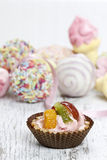 Cupcake filled with fresh fruits Royalty Free Stock Photos