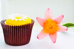 Cupcake and flower Royalty Free Stock Photography