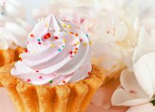 Cupcake and flowers Royalty Free Stock Image