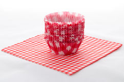 Cupcake forms. On a red patterned stock images