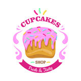 Cupcake with Fowing Topping and confetti. Vector Royalty Free Stock Image