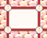 Cupcake frame. Repeating rows of cupcakes ribbons and label with space for your image or text Royalty Free Stock Image