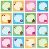 Cupcake frames set Stock Photos