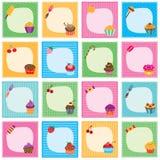 Cupcake frames set Stock Photos