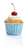 Cupcake  with fresh cherry Royalty Free Stock Photo