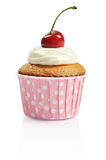 Cupcake  with fresh cherry Royalty Free Stock Photography