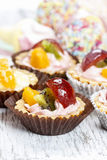 Cupcake with fresh fruits Royalty Free Stock Image