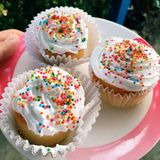 Cupcake. Freshcream have rainbows on the top Royalty Free Stock Photography