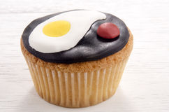 Cupcake with fried egg and ketchup Stock Photo