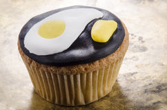 Cupcake with fried egg and mustard Royalty Free Stock Photos