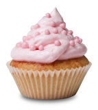 Cupcake with frosting. Pink cupcake with frosting on white stock images