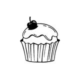 Cupcake with frosting and cherry.  Stock Photos