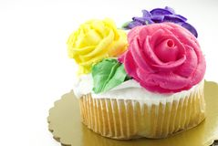 Cupcake with Frosting Roses Royalty Free Stock Photos