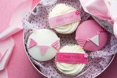Cupcake gift box. Gift box of birthday cupcakes royalty free stock image
