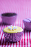 Cupcake on gingham table cloth Royalty Free Stock Photo