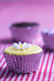 Cupcake on gingham table cloth Royalty Free Stock Photos