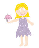 Cupcake Girl. Cute happy birthday cupcake girl Stock Photo