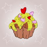 Cupcake with glaze and hearts on a colored abstract background royalty free illustration