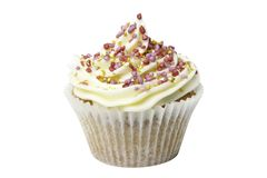 Cupcake with Gold Stars and Clipping Path Royalty Free Stock Photo