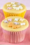 Cupcake with golden marzipan Stock Photo