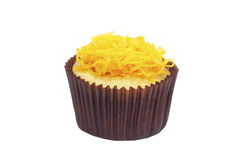 Cupcake with golden threads Stock Photo