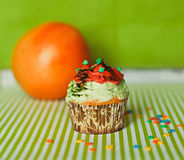 Cupcake on the green background Stock Photography