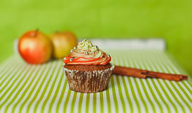 Cupcake on the green background Royalty Free Stock Photography