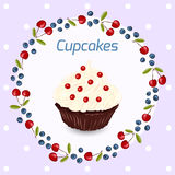 Cupcake greeting card template Stock Photography