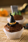 Cupcake halloween witch hat close up Stock Image