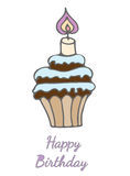 Cupcake for Happy Birthday with candle  with greeting text Royalty Free Stock Photos