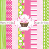 Cupcake happy birthday card illustration