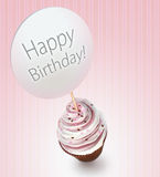 Cupcake with a happy birthday sign Royalty Free Stock Photo