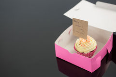 Cupcake with happy mother day card against black background Royalty Free Stock Photography