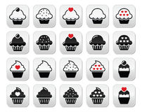 Cupcake with heart, cherry and sparkles buttons set Stock Photography