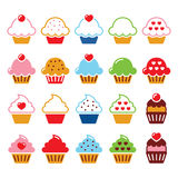 Cupcake with heart, cherry and sparkles cute icons set Royalty Free Stock Photography