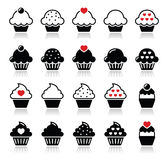 Cupcake with heart, cherry and sparkles icons set Royalty Free Stock Photos