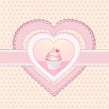 Cupcake heart label Royalty Free Stock Photos