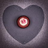 Cupcake on heart Stock Photo