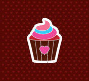 Cupcake with Heart. Valentine`s Day Icon. Love Vector Illustrati Stock Images